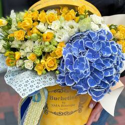 New model of floral arrangement. Sky blue with the smell of flowers💙💛